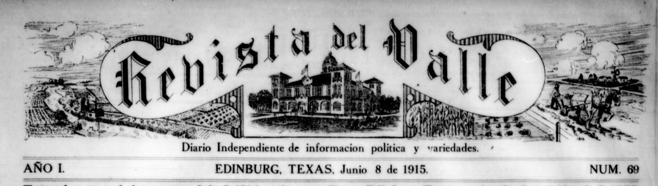 Masthead for an issue of Revista del Valle
