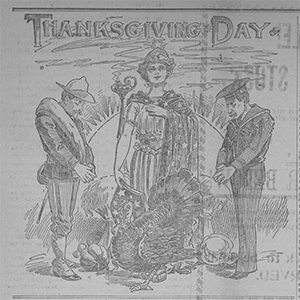 "Two soldiers bow to a Greek goddess of harvest, with""Thanksgiving Day"" written above their heads."
