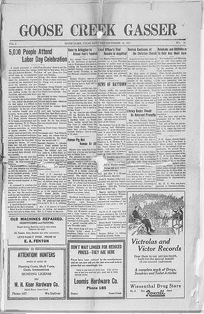 First page of the September 10, 1921 issue of the Goose Creek Gasser.