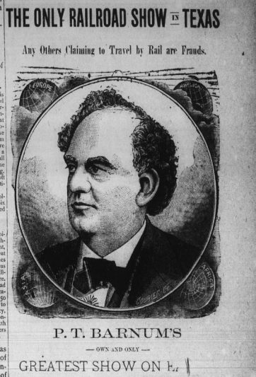 Image of P.T. Barnum from a newspaper ad.