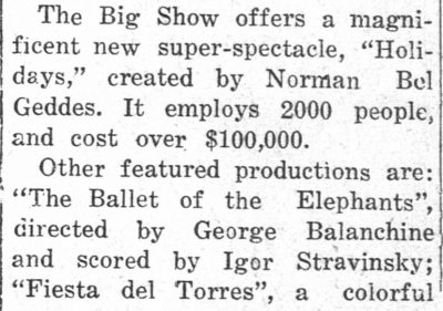 """The Ballet of the Elephants"", directed by George Balanchine"